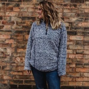 Sweaters - Navy Sherpa half zip pullover sweater tops